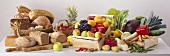 Still Life with Fresh Fruit Vegetables and Bread