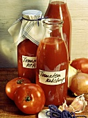Home-made tomato ketchup in bottles