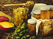 Apricot and mirabelle & mango chutneys in jars