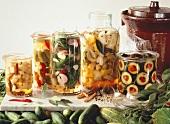 Various pickled gherkins in pickling jars