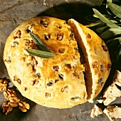 Light Tuscan bread with olives and walnuts