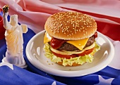 Cheeseburger with American Flag; Statue of Liberty
