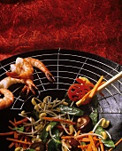 Cooking Vegetables in a Wok; Shrimp