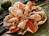 Asian seafood salad with papaya