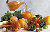 Pouring Fruit and Vegetable Juice into Glass