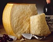 Large Parmesan Wheel; Bottle of Wine