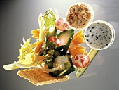 Colorful Raw Vegetables to Dip; Assorted Dips