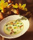 A Bowl of Mushroom and Leek Soup