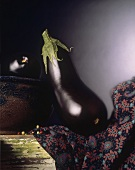 Eggplant on a Cloth on a Wooden Table