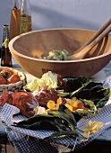 Assorted Salad Ingredients on a Cloth; Salad Bowl