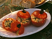 Grilled Tomato Stuffed with Rice; Zucchini and Olive