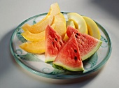 Slices of Watermelon and Crenshaw Melon on a Plate