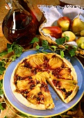 Pear tart with blackcurrants