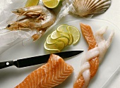 Preparing fish plait from sole and salmon strips