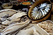 Assorted Fresh and Dried Fish at a Market