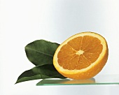 Half an Orange with Leaves