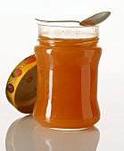 Cold-stirred apricot jam in jar