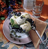 Vanilla Ice Cream with Fresh Blueberries and Pistachios; Whipped Cream