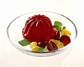 Berry Jello Mold with Fresh Fruit