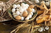 Still Life with White and Brown Eggs; Corn and Grain