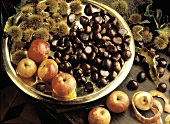Chestnuts on a Brass Plate with Apples