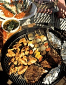 Assorted Meat and Vegetables on the Grill