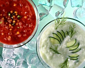 Iced tomato & vegetable soup & iced cucumber soup with dill