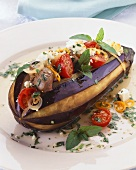 Roasted Whole Eggplant Stuffed with Beef; Tomatoes; Peppers and Onions