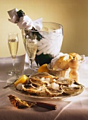 Plate of oysters & lemon on ice, bread & champagne on table