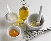 Ingredients for garlic mayonnaise (aioli)