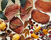 Venison fillet slices with spices, mushrooms & ingredients