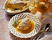 Salzburg dumplings on apricot sauce