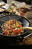 Turkey and Bell Peppers in a Wok