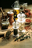 Assorted Peppermills with Colorful Peppercorns
