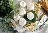 Many Cream Cheese Rounds with Bread and Grapes