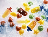 Assorted Frozen Fruit Popsicles and Shapes