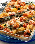 Potato and courgette bake with shrimps