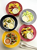 Five tasty vegetable salads with different dressings