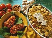 Indian cauliflower gratin and Turkish aubergines