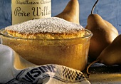 Pear Souffle in a Glass Souffle Dish