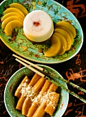 Sweet potatoes with honey & almond-cocoa mousse with peaches