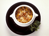 Onion soup with Cheshire cheese and croutons