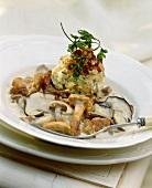 Mixed mushrooms in cream sauce with bread dumplings
