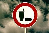 Essen und Trinken verboten: Symbolzeichen für Diät, Fasten