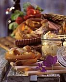Fresh Baked Soft Pretzels; Jar of Cheese Spread