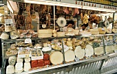 Market in Italy; Assorted Cheese and Sausages