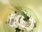 Bowl of Dip with Chives and Parsley
