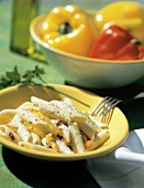 A Bowl of Penne with Yellow Bell Pepper