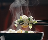 Steaming White Rice with Vegetables; Chop Stick
