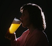 Woman Drinking Wheat Beer